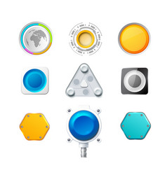Set of nine colorful realistic buttons and vector
