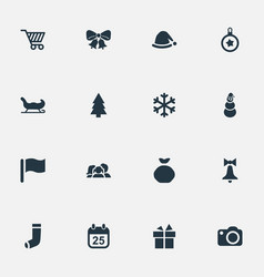 set simple christmas icons vector image