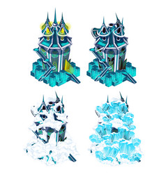 Stage of destruction fantasy castle isolated vector