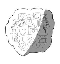 sticker silhouette set collection dialogue social vector image