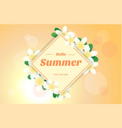 summer greeting season with plumeria flowers vector image