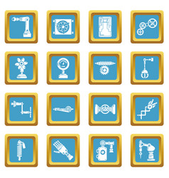 Technical mechanisms icons set sapphirine square vector