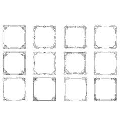 Thin line geometric frames linear frames vector