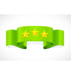 three stars on green band vector image