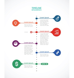 timeline infographics with points vector image