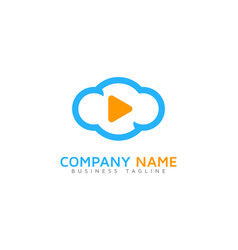 video cloud logo icon design vector image
