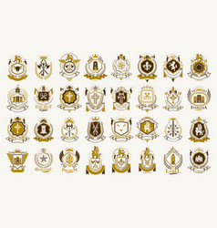 Vintage heraldic emblems big set antique heraldry vector