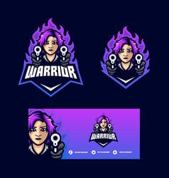 warrior girl concept template vector image