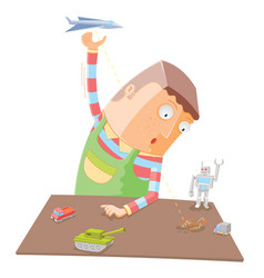 when a boy alone with his toys vector image