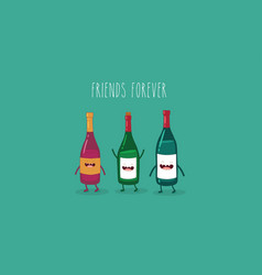 Wine bottle buddies vector