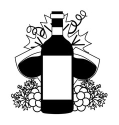 wine bottle cups and bunch grapes vector image