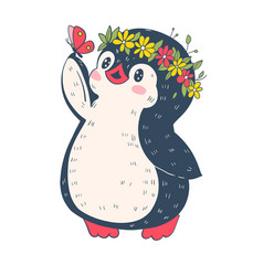 with funny cartoon penguin vector image
