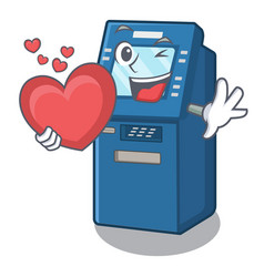 with heart atm machine next to character table vector image