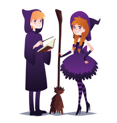 Wizard boy with book and magic stick witch girl vector