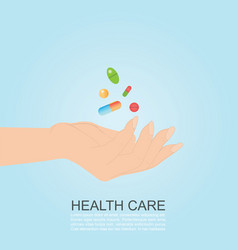 womans hand holding colorful medicines pills vector image
