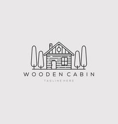 Wooden cabin line art logo design vector