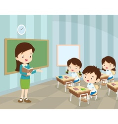 Young teacher and students in classroom vector