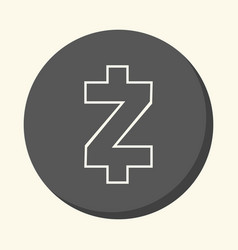 symbol of digital crypto currency zcash round vector image vector image