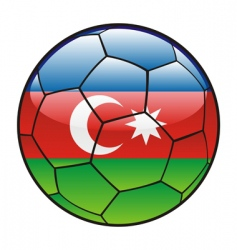 azerbaijan flag on soccer ball vector image vector image