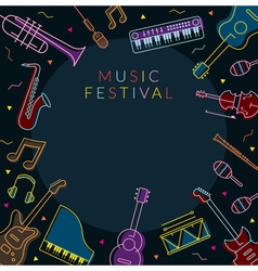 Music Instruments Objects Frame Line Design vector image vector image