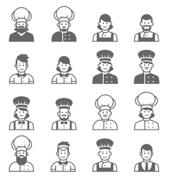 People occupations icons Cook avatar profile vector image vector image
