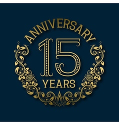 Golden emblem of fifteenth years anniversary vector image vector image