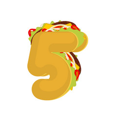 number 5 tacos mexican fast food font five taco vector image vector image