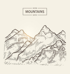 sketch of mountains landscape highlands vector image