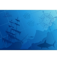 underwater background with sharks vector image
