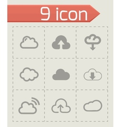 cloud icons set vector image vector image