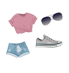 fashion set with jeans shorts purple top grey vector image vector image