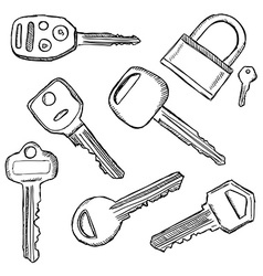 House and car keys doodle vector image