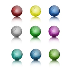 Set of colored globe icons vector image vector image