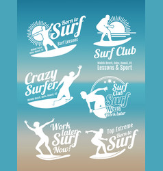 white creative summer surfing sports logos vector image