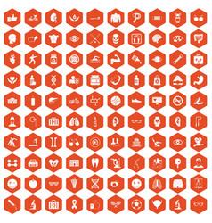 100 health icons hexagon orange vector