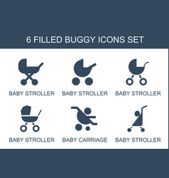 6 buggy icons vector