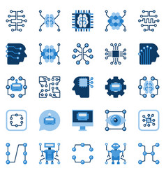 Artificial intelligence flat icons set ai vector