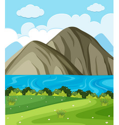 background scene with lake and mountains vector image