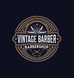 Barbershop logo vintage classic style salon vector