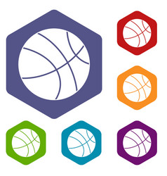 Basketball ball icons set hexagon vector
