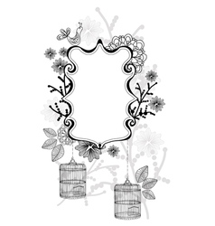 beautiful label with cage vector image