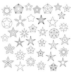 Big set of line star icons vector