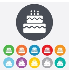 Birthday cake sign icon Burning candles symbol vector
