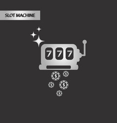 Black and white style slot machine vector