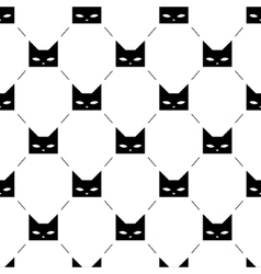 Black cat heads seamless pattern vector image