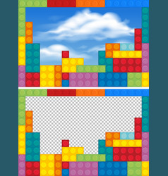 Border templates with colorful blocks vector