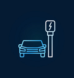 car near charging station colored outline vector image