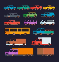 Car Types Flat Icons vector