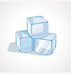 cartoon blue ice cubes vector image