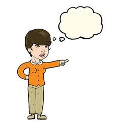 Cartoon woman pointing finger blame vector